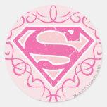 Rayas rosadas de Supergirl Pegatinas Redondas