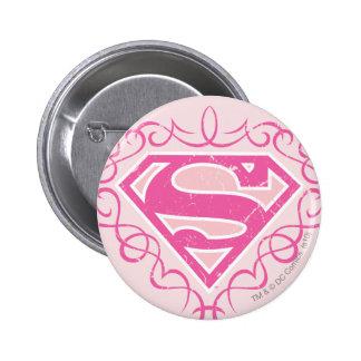 Rayas rosadas de Supergirl Pin Redondo 5 Cm