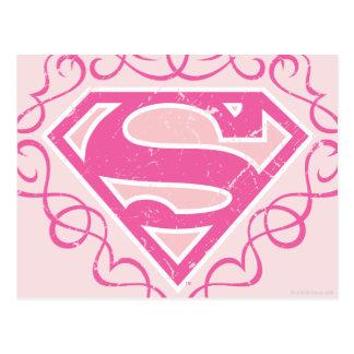 Rayas rosadas de Supergirl Postal