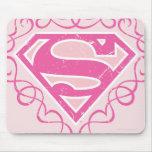 Rayas rosadas de Supergirl Tapetes De Ratones