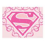 Rayas rosadas de Supergirl Tarjeta Postal