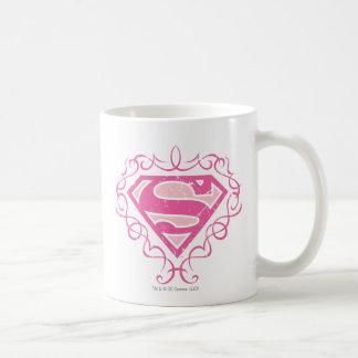 Rayas rosadas de Supergirl Tazas De Café