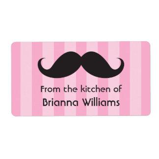 Rayas rosadas del bigote de la cocina de etiquetas etiquetas de envío