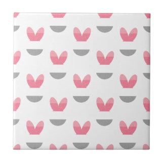 Rayas rosadas del conejito azulejo cuadrado pequeño