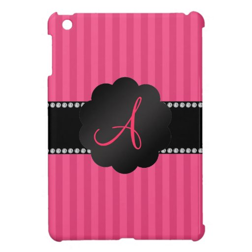 Rayas rosadas del monograma iPad mini fundas