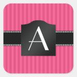 Rayas rosadas del monograma pegatina cuadrada