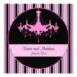 Rayas rosadas del vintage y boda cuadrado de la lá invitación personalizada