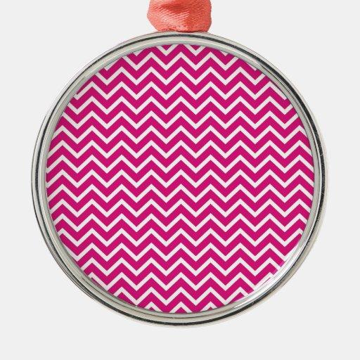 Rayas rosadas del zigzag de Chevron Adornos De Navidad