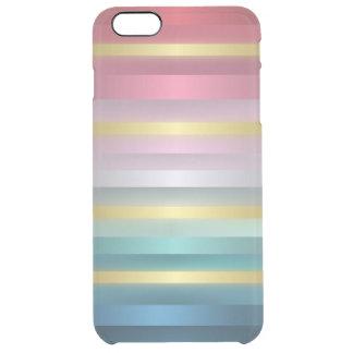 Rayas rosadas elegantes del oro de la turquesa funda clearly™ deflector para iPhone 6 plus de unc