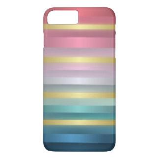 Rayas rosadas elegantes del oro de la turquesa funda iPhone 7 plus
