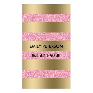 Rayas rosadas elegantes modernas del brillo y del tarjetas de visita