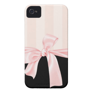 Rayas rosadas femeninas parisienses y arco rosa cl Case-Mate iPhone 4 coberturas