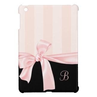Rayas rosadas femeninas parisienses y arco rosa cl iPad mini protector