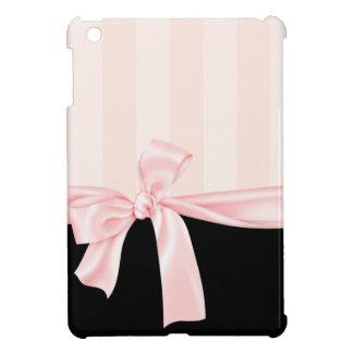 Rayas rosadas femeninas parisienses y arco rosa cl iPad mini cárcasa