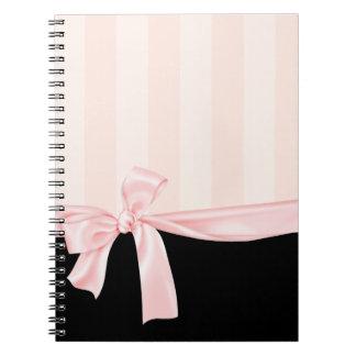 Rayas rosadas femeninas parisienses y arco rosa cl cuadernos