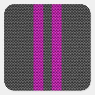 Rayas rosadas fucsias en estilo de la fibra de pegatina cuadrada