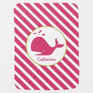 Rayas rosadas + Manta personalizada ballena del Mantas De Bebé