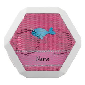 Rayas rosadas narwhal azules conocidas altavoces bluetooth blancos boombot REX