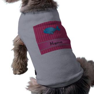 Rayas rosadas narwhal azules conocidas playera sin mangas para perro