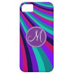 Rayas rosadas púrpuras del arco iris de la aguamar iPhone 5 Case-Mate fundas