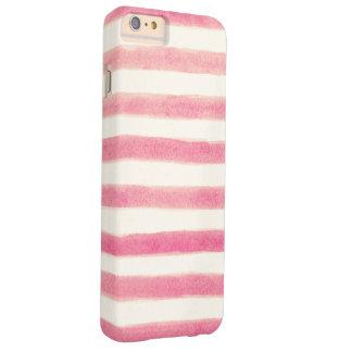 Rayas rosadas retras pintadas femeninas funda de iPhone 6 plus barely there
