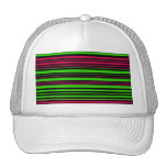 Rayas rosadas verdes negras contemporáneas gorras de camionero