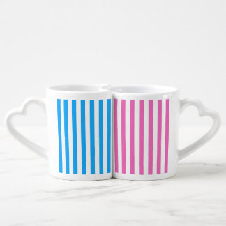 Rayas rosadas y azules (añada el 2do color) taza para enamorados
