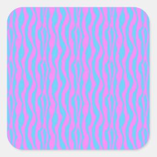 Rayas rosadas y azules de la cebra pegatinas cuadradases personalizadas