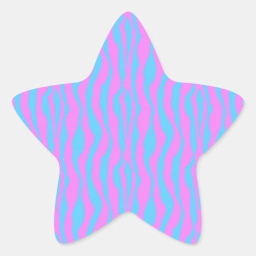 Rayas rosadas y azules de la cebra pegatina en forma de estrella