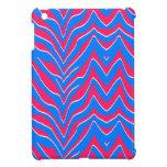 Rayas rosadas y azules de neón de la cebra iPad mini fundas
