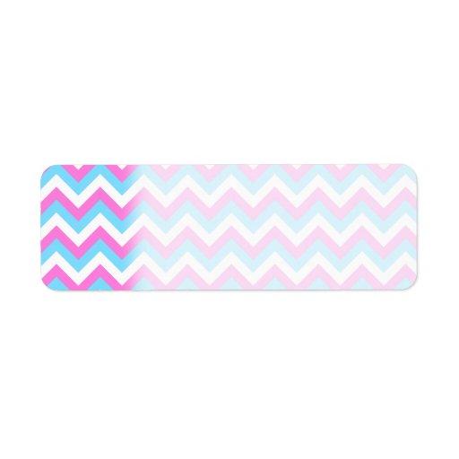 Rayas rosadas y azules del zigzag de Chevron Etiqueta De Remite