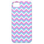 Rayas rosadas y azules del zigzag de Chevron iPhone 5 Case-Mate Coberturas