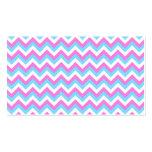 Rayas rosadas y azules del zigzag de Chevron Tarjeta De Visita
