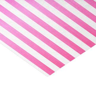 Rayas rosadas y blancas brillantes papel de seda pequeño