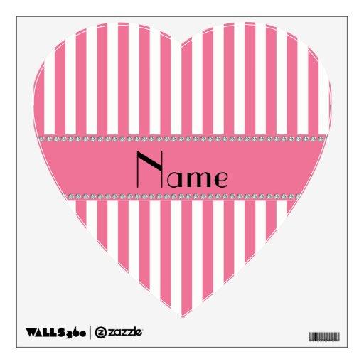 Rayas rosadas y blancas conocidas personalizadas