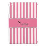 Rayas rosadas y blancas conocidas personalizadas iPad mini fundas