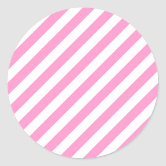 Rayas rosadas y blancas del caramelo pegatina redonda