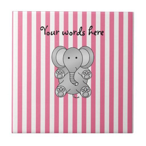 Rayas rosadas y blancas del elefante lindo teja cerámica