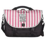 Rayas rosadas y blancas del elefante lindo bolsas de ordenador