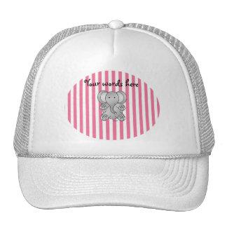 Rayas rosadas y blancas del elefante lindo gorras