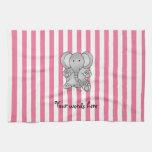 Rayas rosadas y blancas del elefante lindo toalla de mano