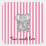 Rayas rosadas y blancas del elefante lindo pegatinas cuadradas personalizadas