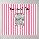 Rayas rosadas y blancas del elefante lindo posters