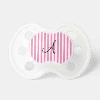Rayas rosadas y blancas del monograma chupete de bebé