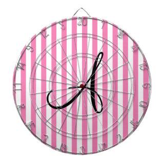 Rayas rosadas y blancas del monograma tabla dardos