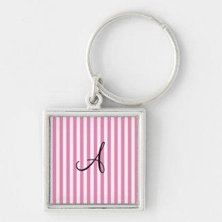 Rayas rosadas y blancas del monograma llavero