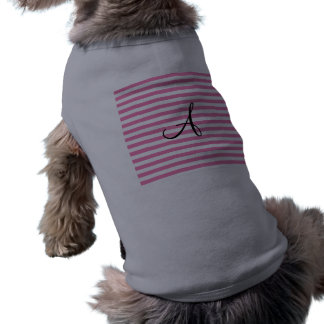 Rayas rosadas y blancas del monograma camisa de mascota