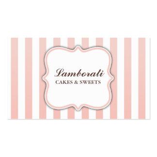 Rayas rosadas y blancas lindas modernas elegantes tarjeta de negocio