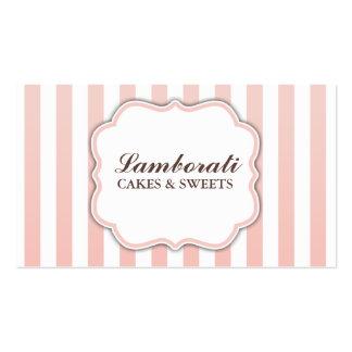 Rayas rosadas y blancas lindas modernas elegantes tarjeta de visita