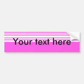 Rayas rosadas y blancas modernas pegatina para auto